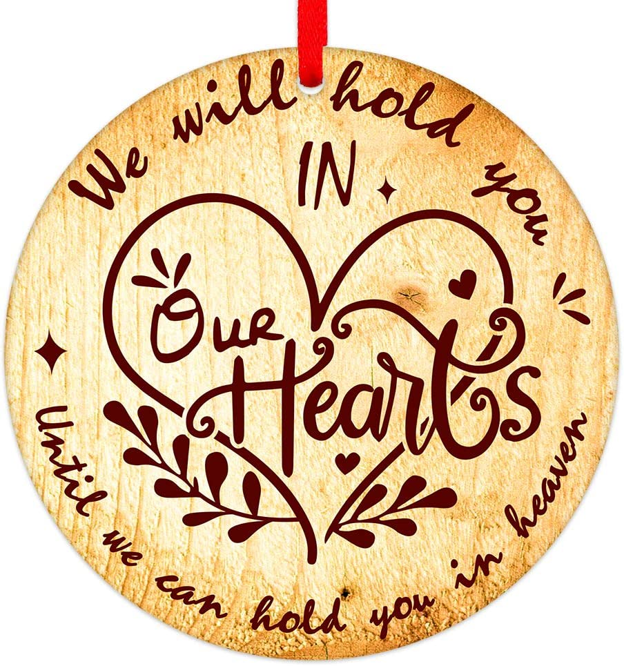 "PETCEE Christmas in Heaven Ornaments 3"" Memorial Christmas Ornaments,We Will Hold You in Our Hearts Until We Can Hold You in Heaven Christmas Trees Ornaments Decorations Sympathy Gifts"