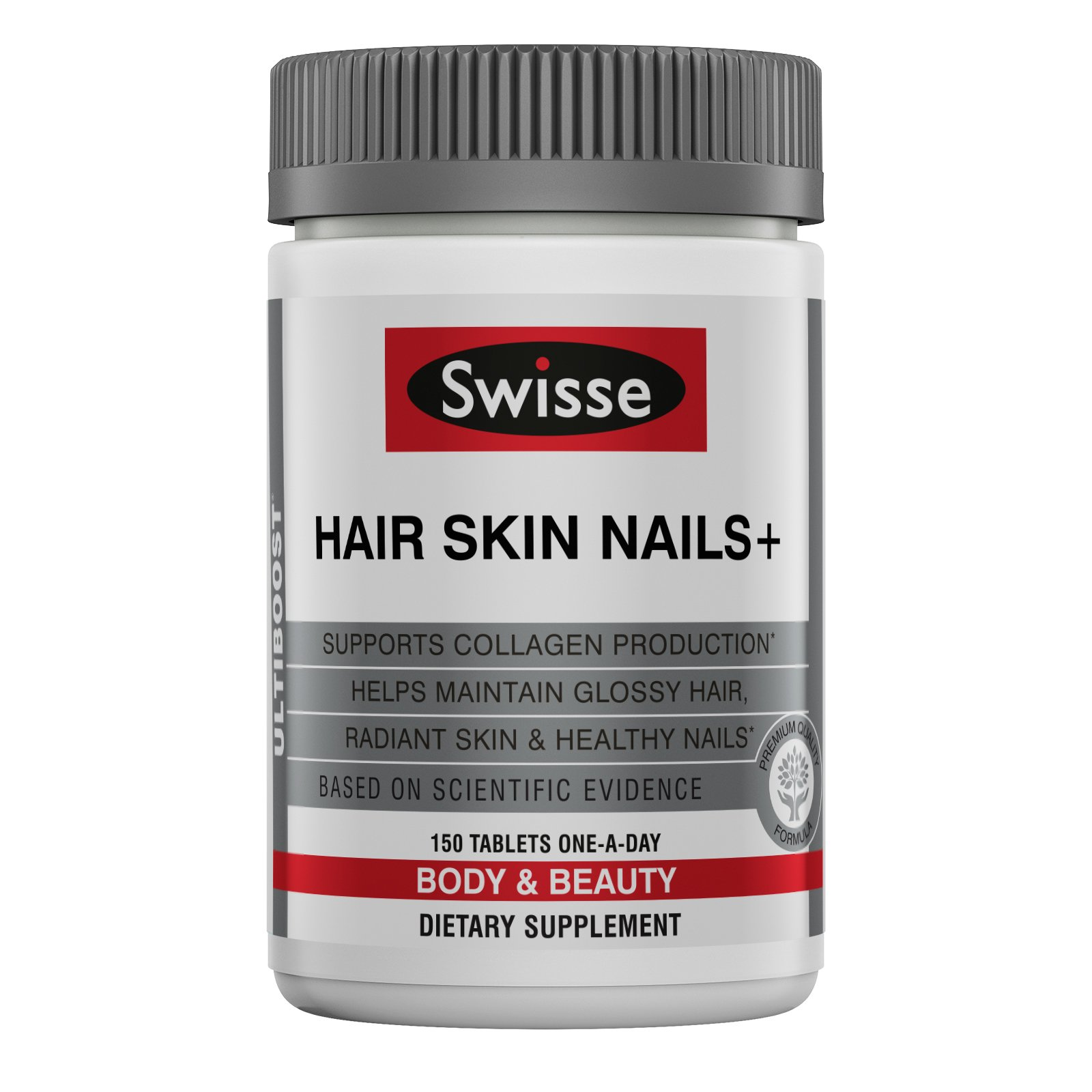 Swisse Ultiboost Hair Skin Nails Tablets, 150 Tablets, Beauty Formula, Contains Vitamin C, Iron, Zinc to Supports Collagen Production for  Healthy Hair, Skin and Nails*