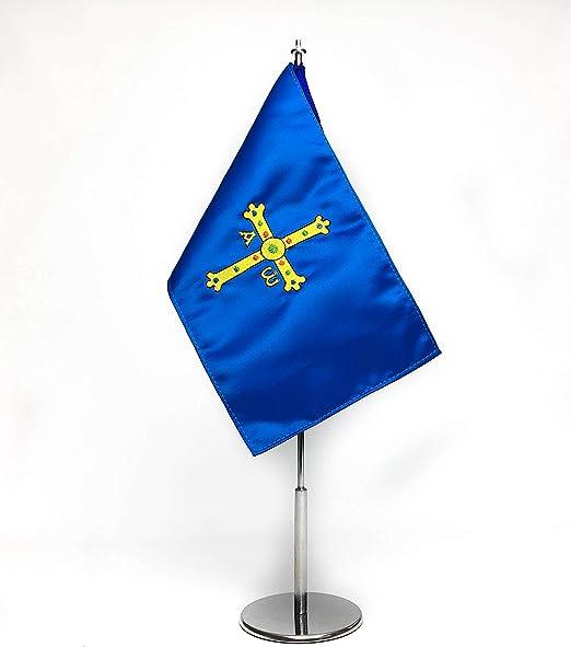 ABBE Global Bandera de Mesa Bordada de Asturias 15x25 y mástil ...