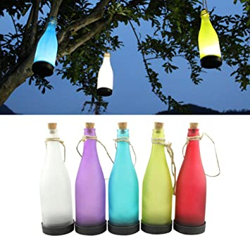 5Piezas Luces Solares Colgantes Focos LED Luz botella solar LED Patios, Impermeables Con Cinco Colores Perfectos para Decoración Jardín Patio de NORDSD: ...
