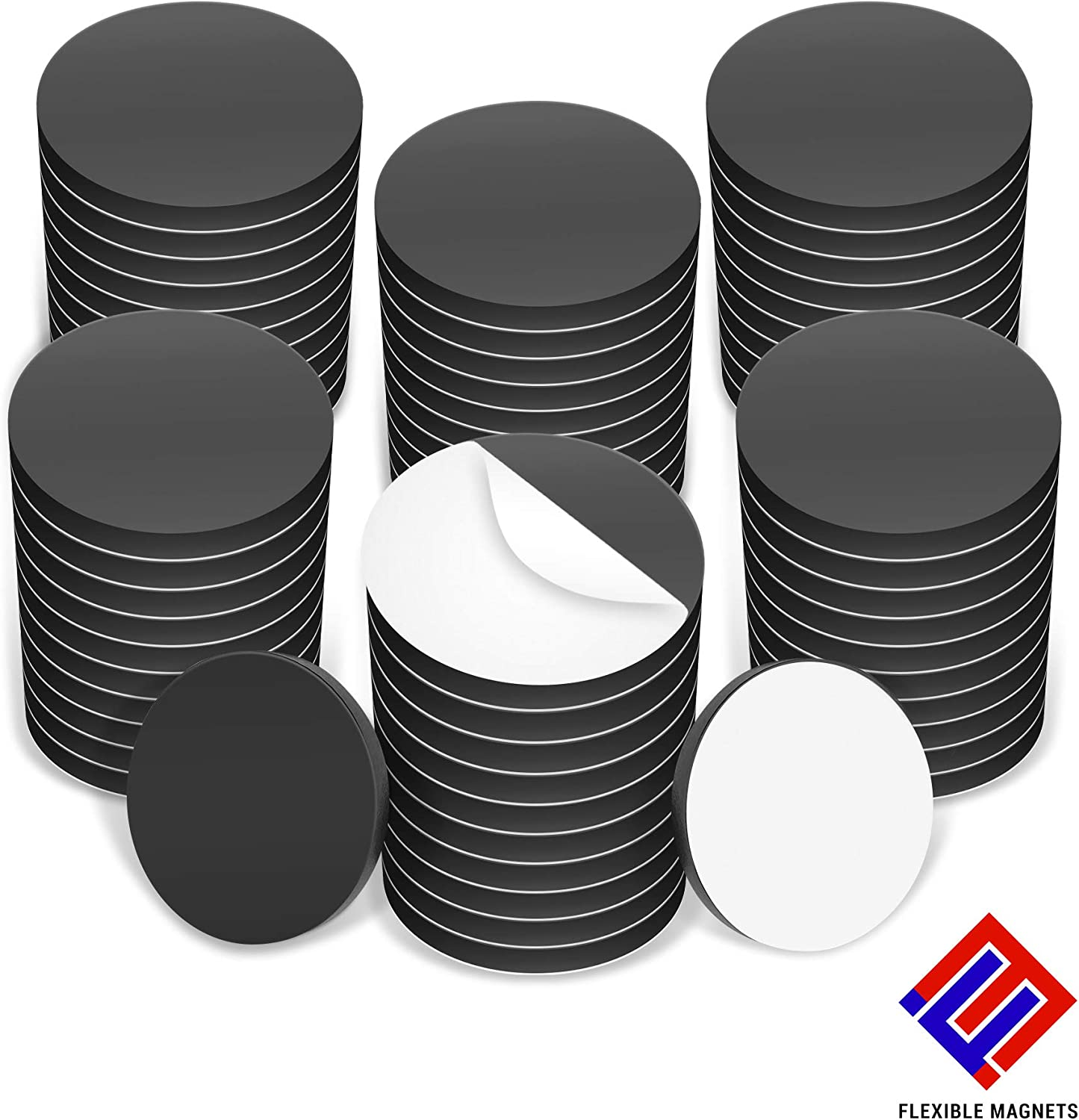 """Flexible Magnets 1"""" Round Disc with Adhesive Backing - 50 Pcs"""