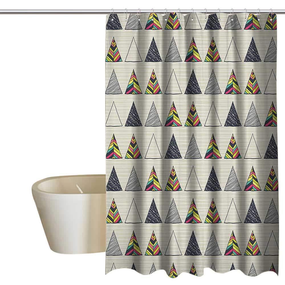 幾何学模様 浴槽 スプラッシュガード 抽象アートスタイル カラフルな正方形のイラスト 装飾パターン エコフレンドリー マルチカラー W72