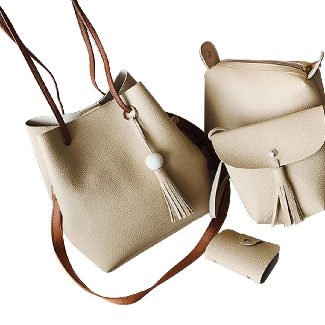 Hot Sale Handbag Rakkiss Women Leather Shoulder Bags Fashion Tote Bag Crossbody Crossbody Bag Satchel Birthday Present Gifts Tote Bag(4 Sets)