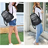 Belle & Lily Black Genuine Pebbled Leather Backpack Purse Casual Daypack Gift for Mother's Day Girls Ladies Women Schoolbag Travelling Shopping Back to