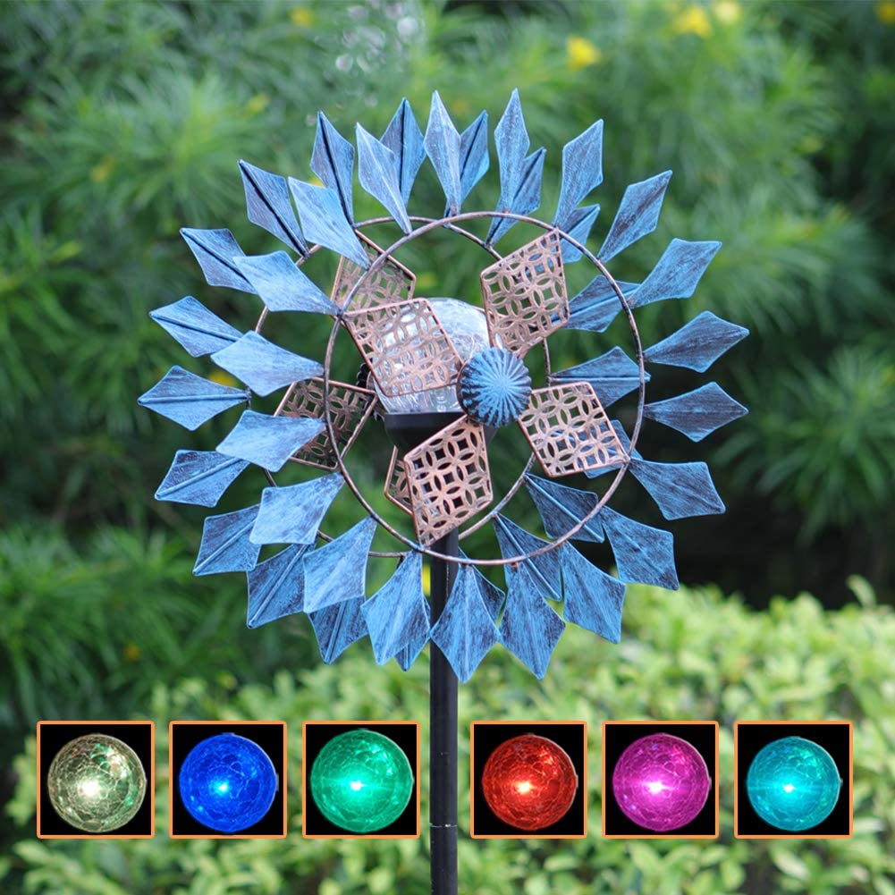 hm MH Azure 75 Inch Solar Wind Spinner Color Changing Seasonal LED Lighting Solar Powered Glass Ball with Wind Spinner Dual Direction for Patio Lawn & Garden