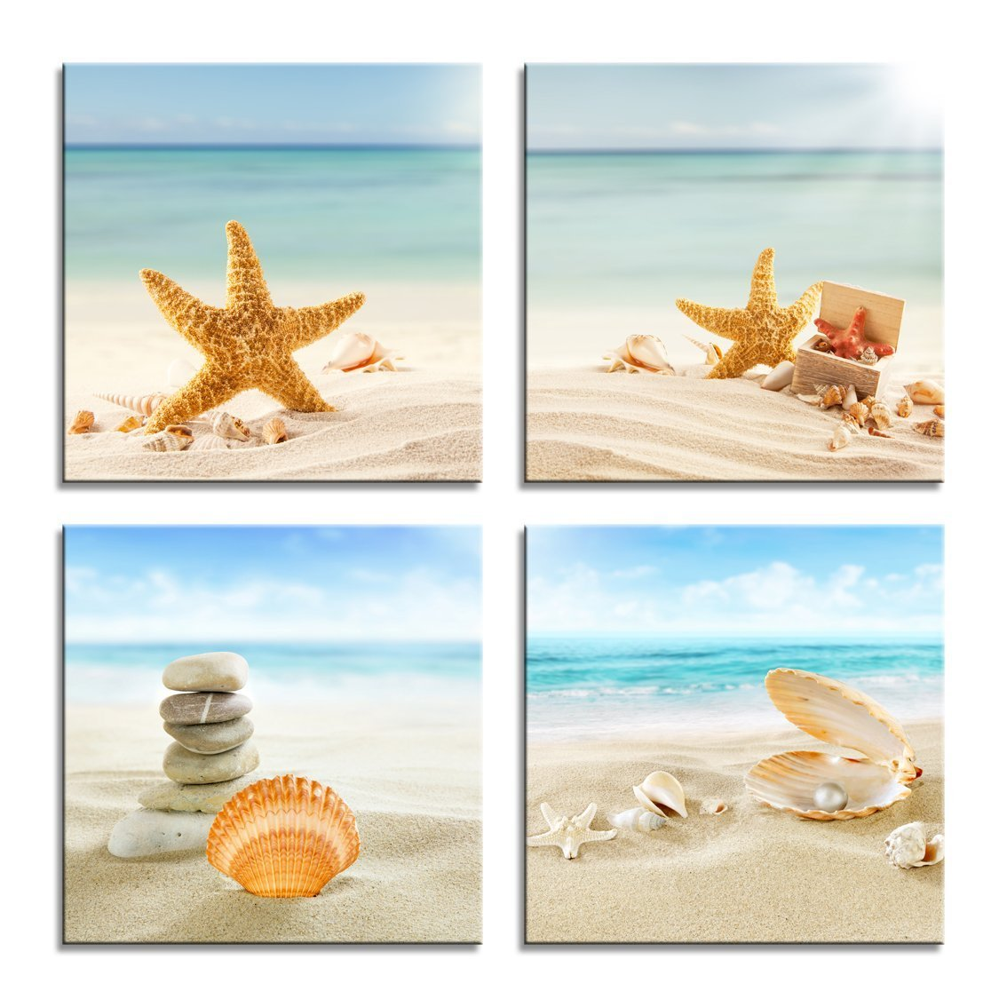 YPY Painting Beach Stone Sea Shells Sand Sunshine 4 PCS Wall Art Stretched Canvas Art Set Framed Ready to Hang (Blue, 12x12in) SS-4P-0001