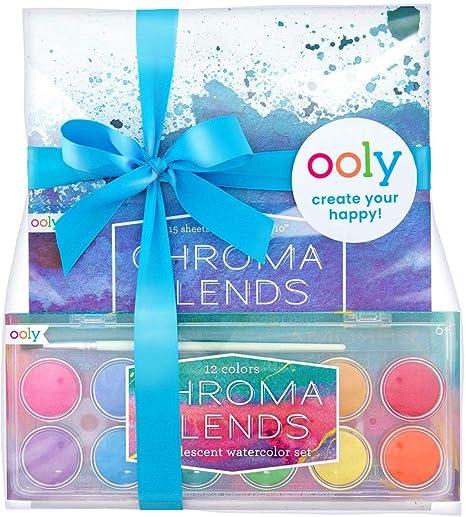 Ooly Happy Pack, 12 acuarelas mezclables + cepillo + cubierta + almohadilla de papel de acuarela – Paquete de regalo nacarado para acuarela: Amazon.es: Juguetes y juegos
