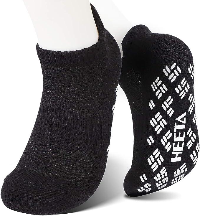 HEETA Non Slip Yoga Socks with Grips for Women Men, for Hospitals, Yoga, Pilates, Ballet, Dance and Fitness