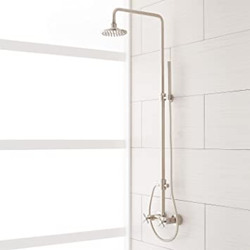 exposed pipe shower . Naiture Brass Exposed Pipe Shower System With Rainfall Head And Hand  In Brushed Nickel