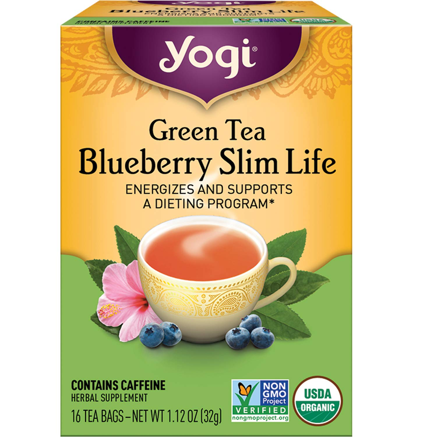 Yogi Tea - Green Tea Blueberry Slim Life (6 Pack) - Energizes and Supports a Dieting Program - 96 Tea Bags : Grocery & Gourmet Food