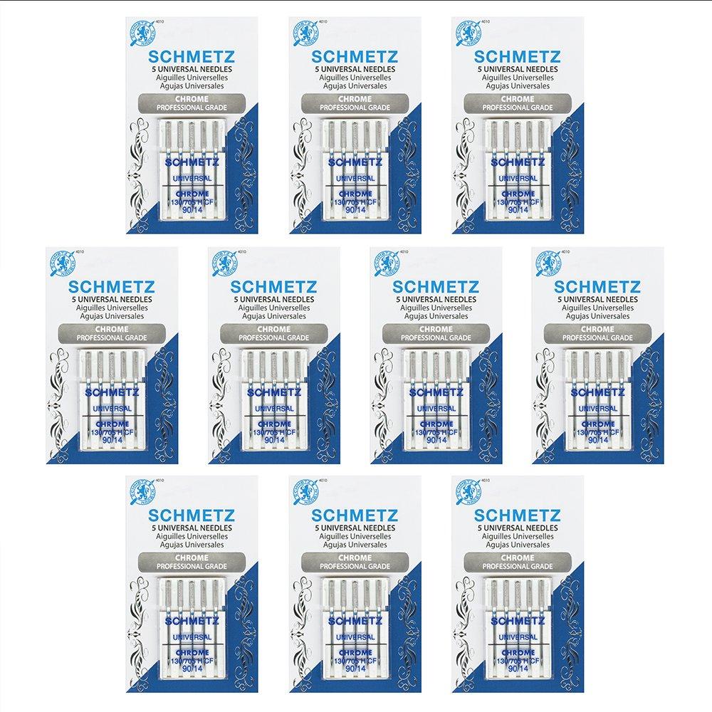 50 Schmetz Chrome Universal Sewing Machine Needles - size90/14 - Box of 10 cards by Schmetz