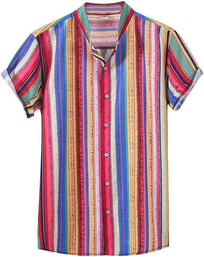 Aiserkly 2019 - Camisa de Manga Corta para Hombre, diseño étnico ...