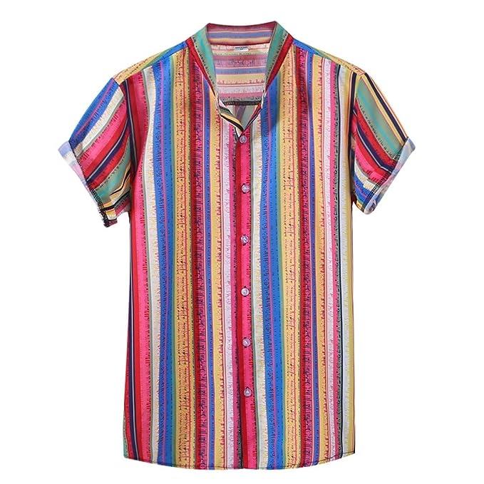 d2011fff35 CLOOM Uomo Camicia Estate, Camicia Hawaiana da Uomo, Camicie Casual, Righe  Fiori Tropicale