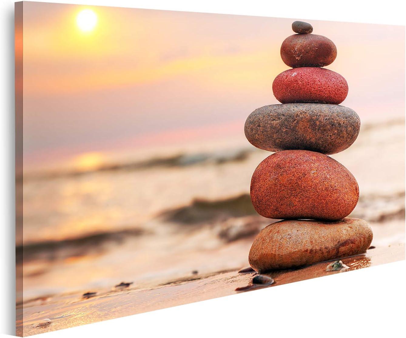 islandburner Cuadro en Lienzo Pirámide de Piedras sobre la Arena simboliza la armonía Zen balanceando el océano al Atardecer en el Fondo Cuadros Modernos Decoracion Impresión Salon