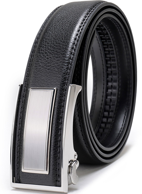 Beltox Fine Men's Dress Leather Ratchet Belt with Nickel-free Automatic Buckle (52-54, silver buckle)