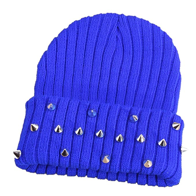 068825da764 Amazon.com  W Hstore Mens Womens Punk Rock Hip-hop Hat Spike Rivet Stud Knit  Cap (Black)  Clothing