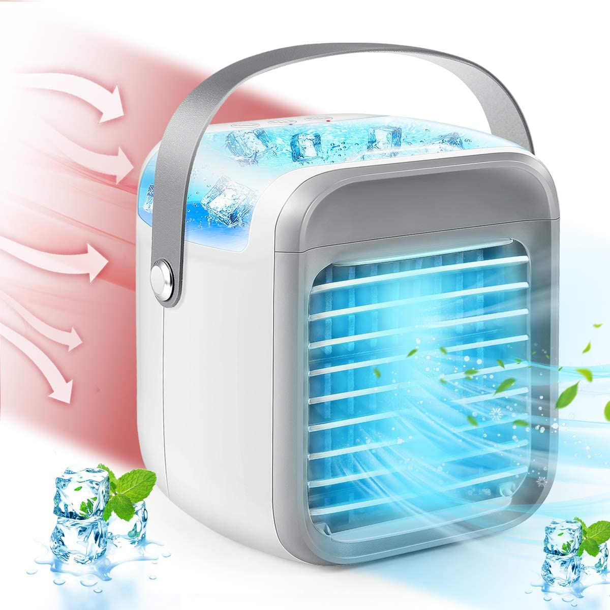 YGGAamble Air Conditioner Fan, Rechargeable Personal Air Cooler with 3 Speeds 7 Colors, Mini Evaporative Air Cooler with LED Light, Portable Air Conditioners for Room/Bedroom/Office/Dorm/Camping