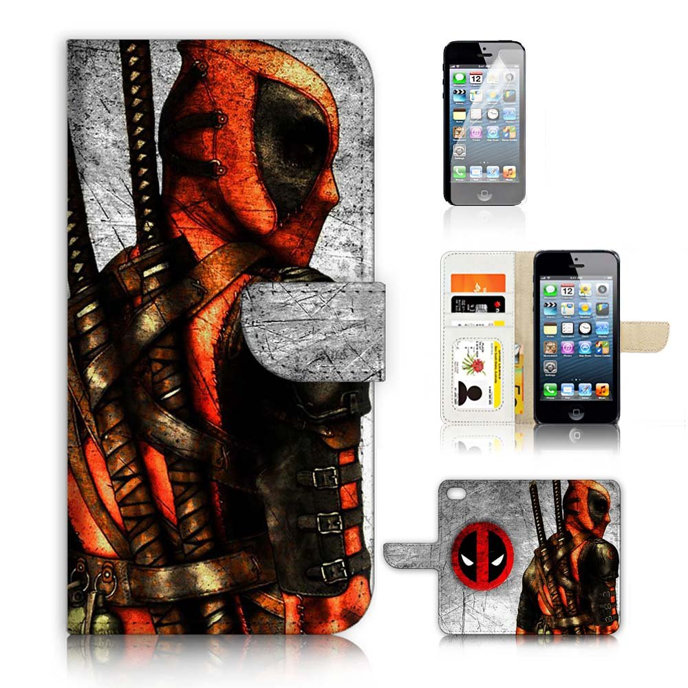 ( For iPhone 5 5S / iPhone SE ) Flip Wallet Case Cover and Screen Protector Bundle A20500 Deadpool