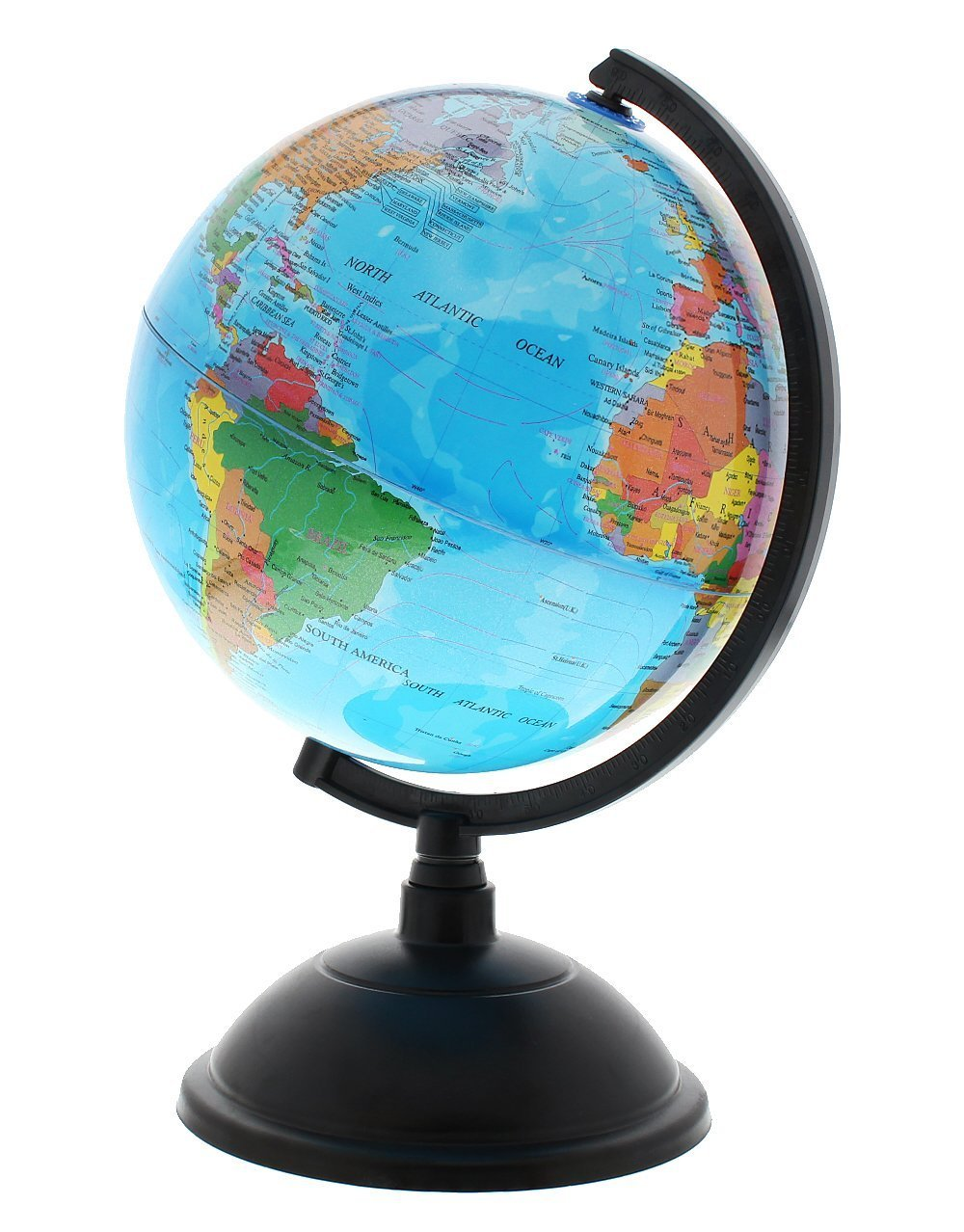 PROW® 8 Inch Illuminated 2 in 1 World Globe Interactive Globe for Kid's Room Lighting or Traveler plus Compass (English version)