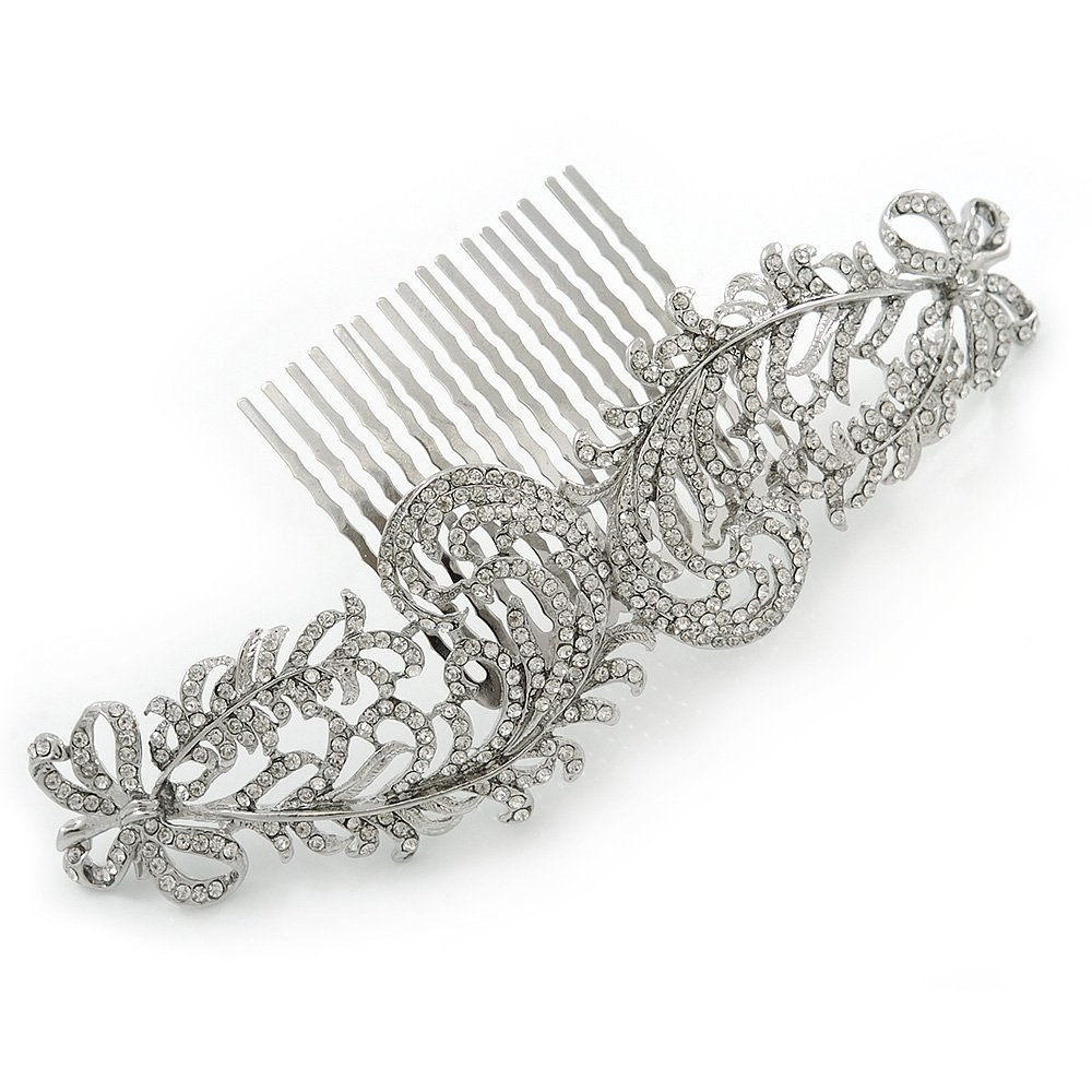 Bridal/ Wedding/ Prom/ Party Rhodium Plated Clear Austrian Crystal Hair Comb Jewelry & Watches 1 Hair & Head Jewelry