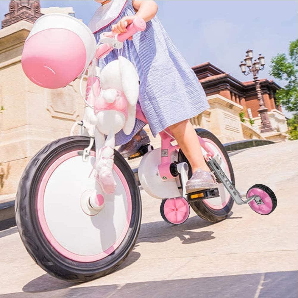 Rosa JPYH Ruedas Auxiliares para Ni/ños Ruedas Estabilizadoras Universales para Bicicletas Ruedas Auxiliares para Bicicletas Estabilizador para Bicicletas Ni/ños de 12 A 20 Pulgadas