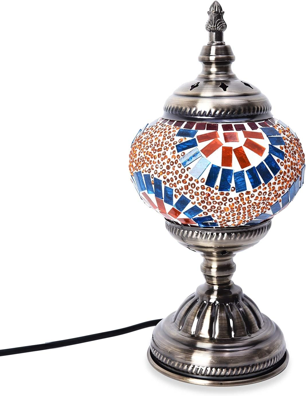 Shop LC Delivering Joy Home Decor Handcrafted Orange Sunburst Pattern Mosaic Turkish Style Table Lamp Nightstand with Bronze Base Requires E-12 Bulb