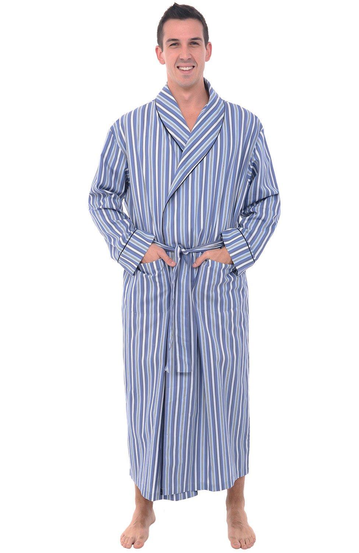 Alexander Del Rossa Mens Cotton Robe, Lightweight Woven Bathrobe, Large Light and Dark Blue Striped (A0715R62LG)