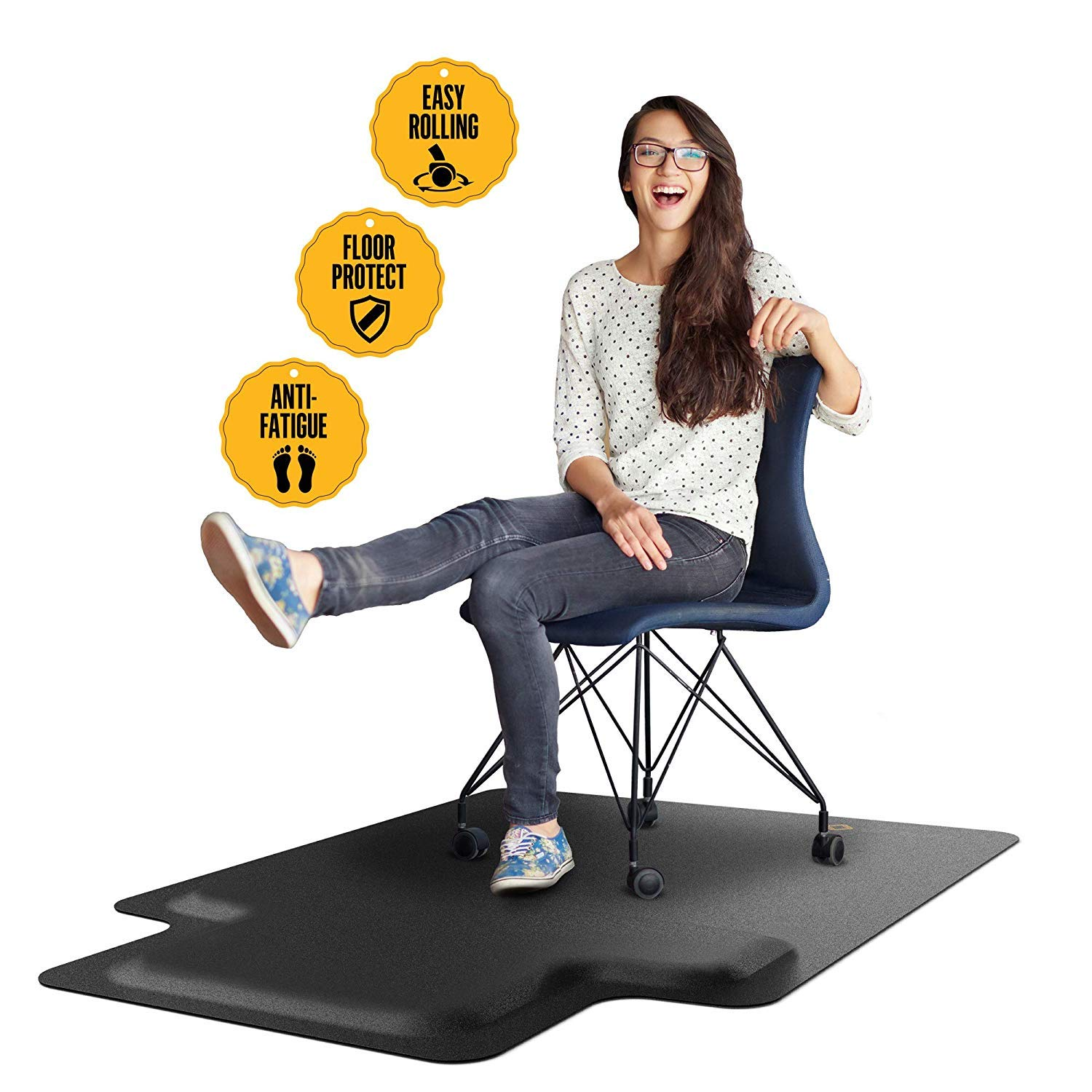 Office Chair Mat with Anti Fatigue Cushioned Foam - Chair Mat for Harwood Floor with Foot Rest Under Desk - 2 in 1 Chairmat Standing Desk Anti-Fatigue Comfort Mat by Mushyn