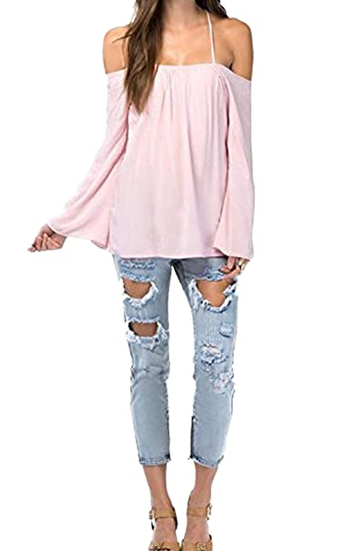 ea39e28f9a7f13 Finejo Womens Halter Backless Cross Straps Loose Off Shoulder Shirt Blouse  Top  Amazon.co.uk  Clothing
