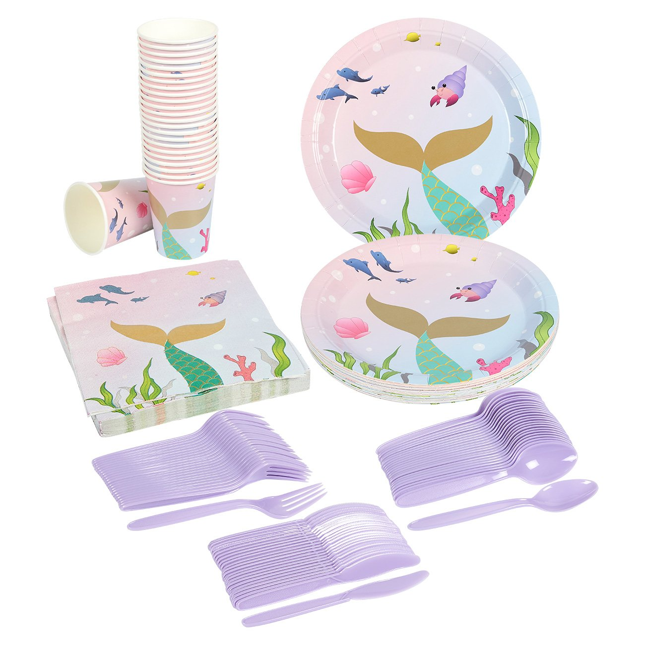 Juvale Mermaid Party Supplies – Serves 24 – Includes Plates, Knives, Spoons, Forks, Cups and Napkins. Perfect Mermaid Birthday Party Pack for Girls Mermaid Themed Parties. by Juvale