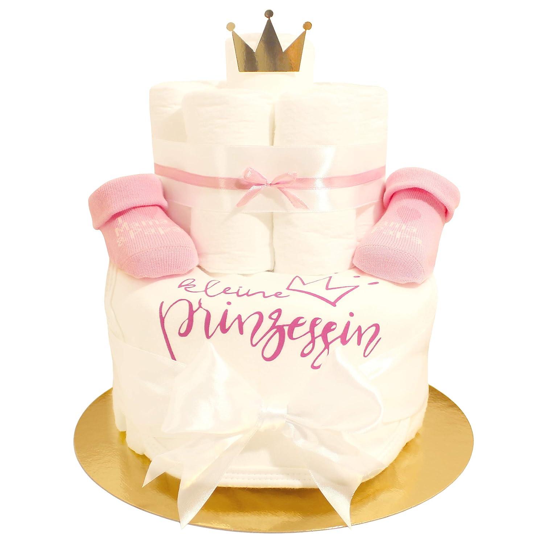 Pandawal Windeltorte Geschenk zur Geburt M/ädchen Rosa//Wei/ß mit s/ü/ßen Baby S/öckchen und L/ätzchen mit Spruch kleine Prinzessin Gold