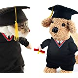 OSPet Funny Pet Graduation Costume with Black Graduation Hat for Small Dogs & Cats