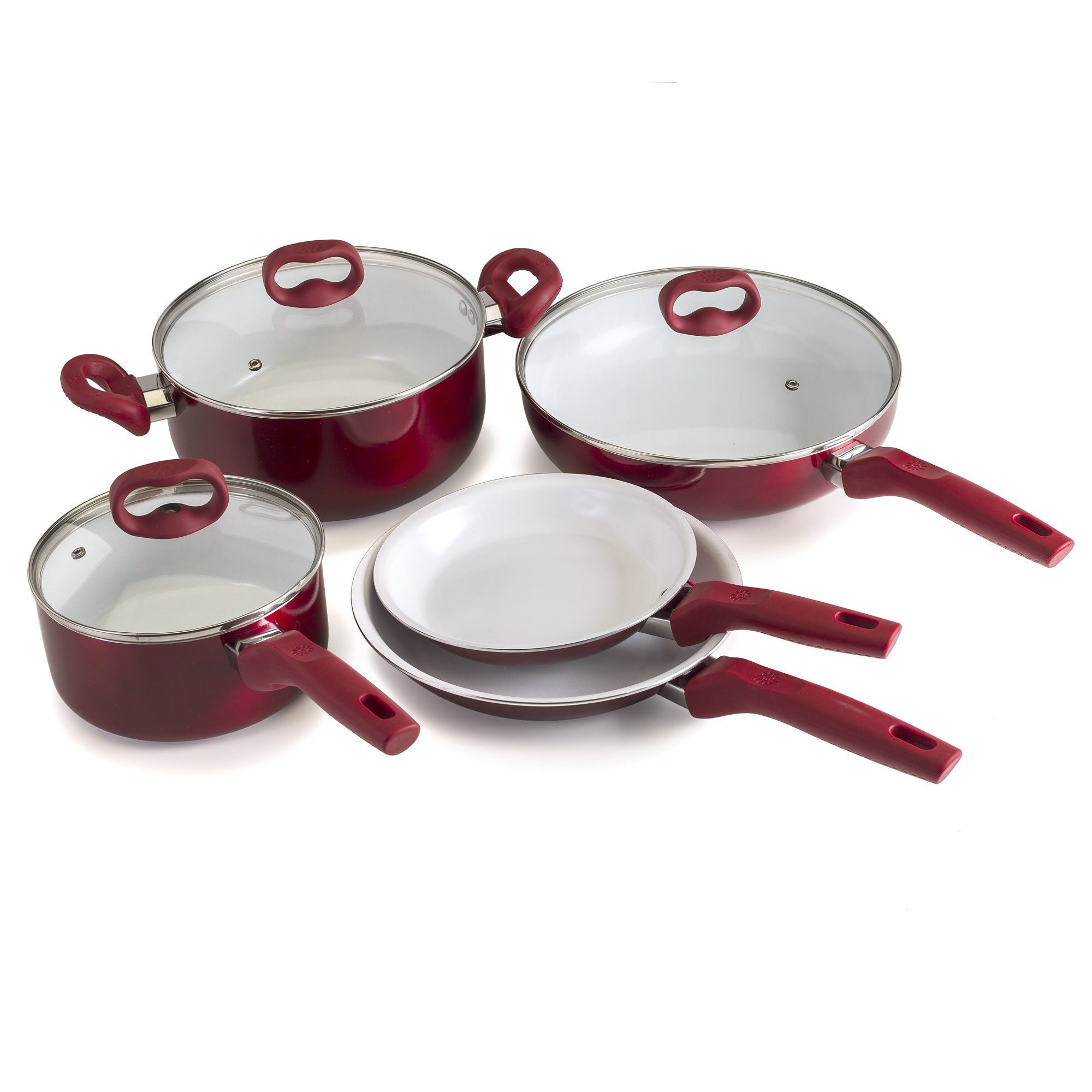 Ecolution Bliss 8Piece Non-Stick Cookware Set - PFOA, PTFE & Lead Free, , Candy Apple Exterior / White Interior