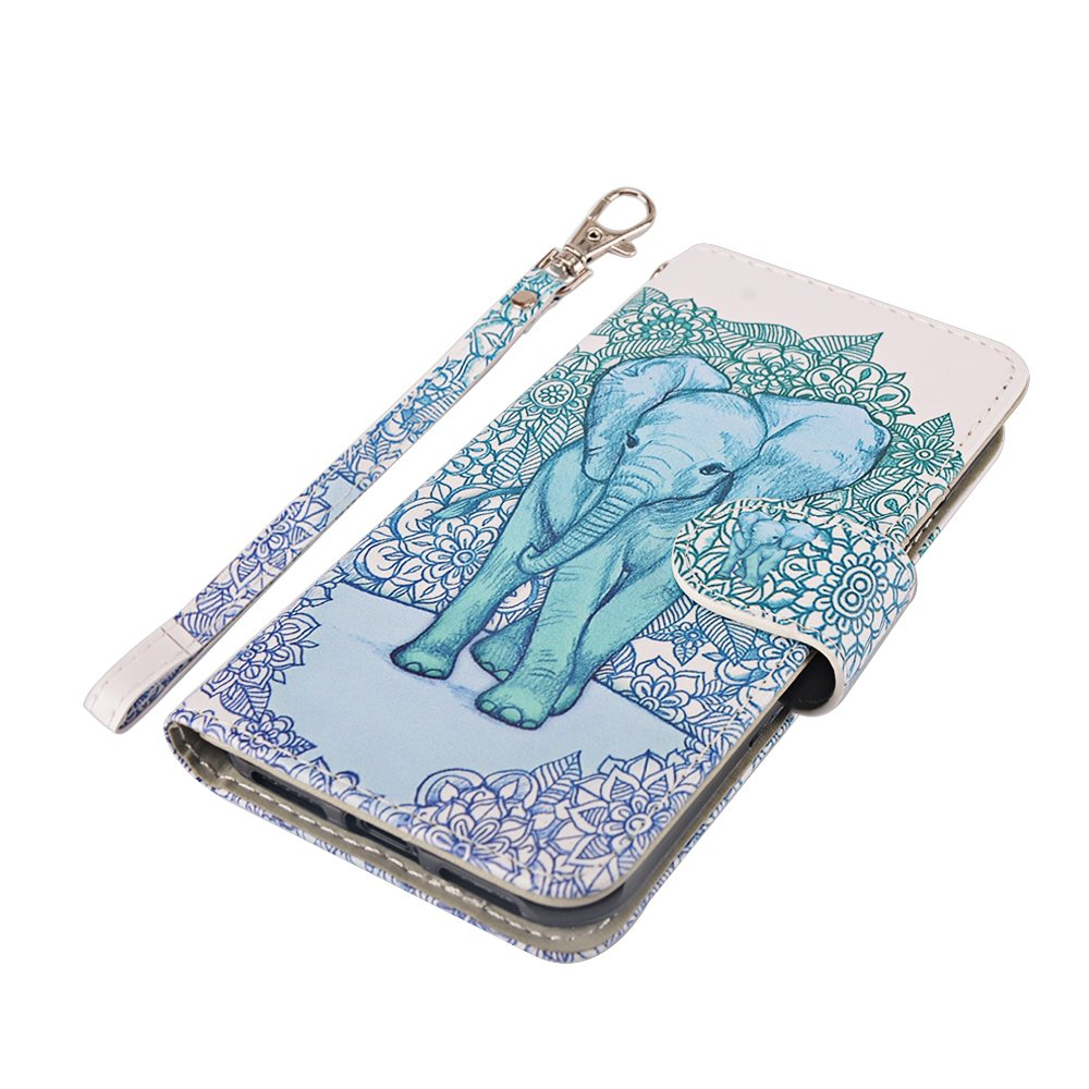 iPhone X Case, MagicSky iPhone X Wallet Case, Premium PU Leather Wristlet Flip Case Cover with Card Slots & Stand for Apple iPhoneX - Elephant