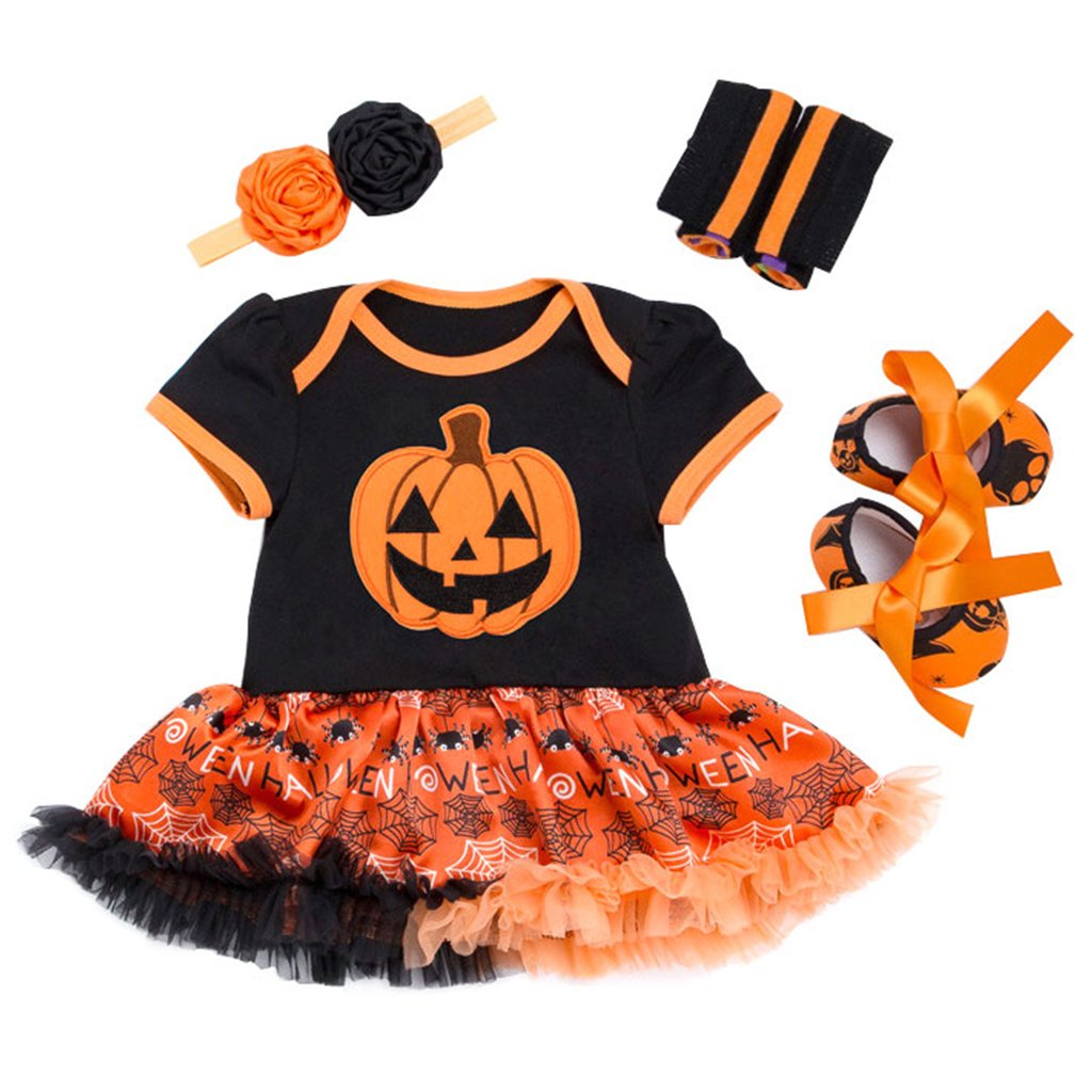 4pcs Baby Tutu Romper Set with Headband Leg Warmers Shoes Halloween Costume Vine Trading Co. Ltd C170824HY003V