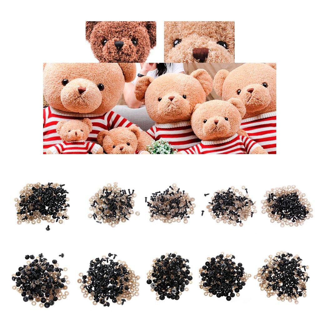100 pezzi per borsa fai da te bambola occhi giocattolo in plastica nera occhi pupazzi bambola con rondelle 5 mm