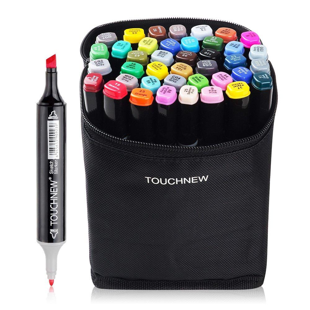 40 Set Color TOUCHNEW Marker Pen Set Drawing Painting Art Dual Tip Sketch Pen Art Sketch Twin Tip Design with Carry Bag(Comic Selection) (40 Set, Black)-Lightwish