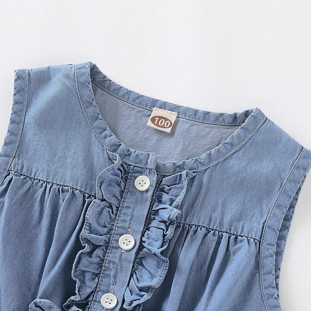 Buoyee Toddler Baby Girls Easter Ruched Rabbit Denim Skirt Princess Dresses Clothes