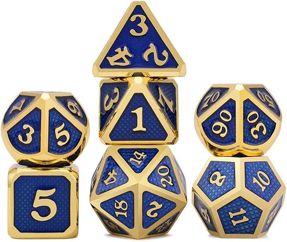 FD2LB1NVL Metal Polyhedral 7-Die Dice Set, Zinc aleación Dice con Metal, Juego de rol Juego de Dados fijado para Mazmorras y Dragones RPG Dice Gaming D & D