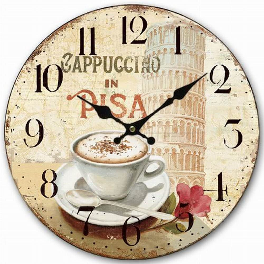 "HQF Italian Style Wall Clock, Eruner 16"" Stylish Office Wall Clock Classy Kitchen Clock Wooden Mottled Effect Living Room Lounge Silent Clock Hallway Timepiece Watch"