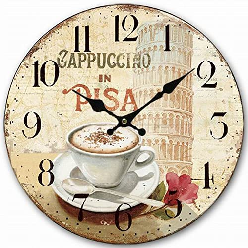 HQF Italian Style Wall Clock, Eruner 12 Stylish Office Wall Clock Classy Kitchen Clock Wooden Mottled Effect Living Room Lounge Silent Clock Hallway Timepiece Watch