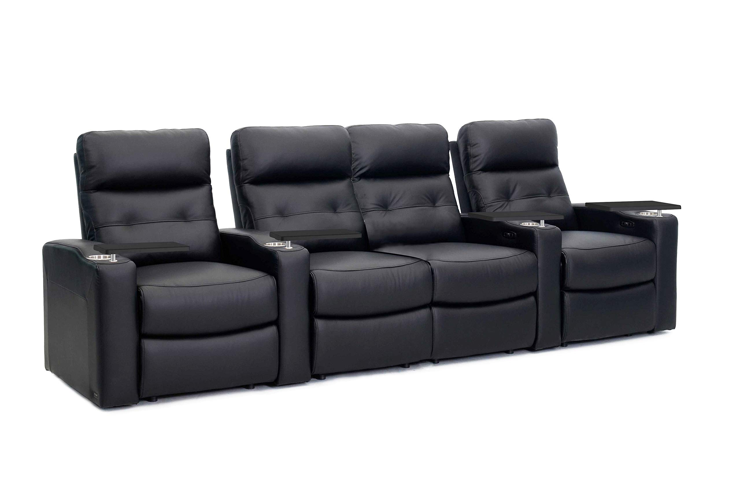 Octane Contour Leather Power Headrest & Power Recline Home Theater Recliners, Black (Set of 4) by Octane Seating