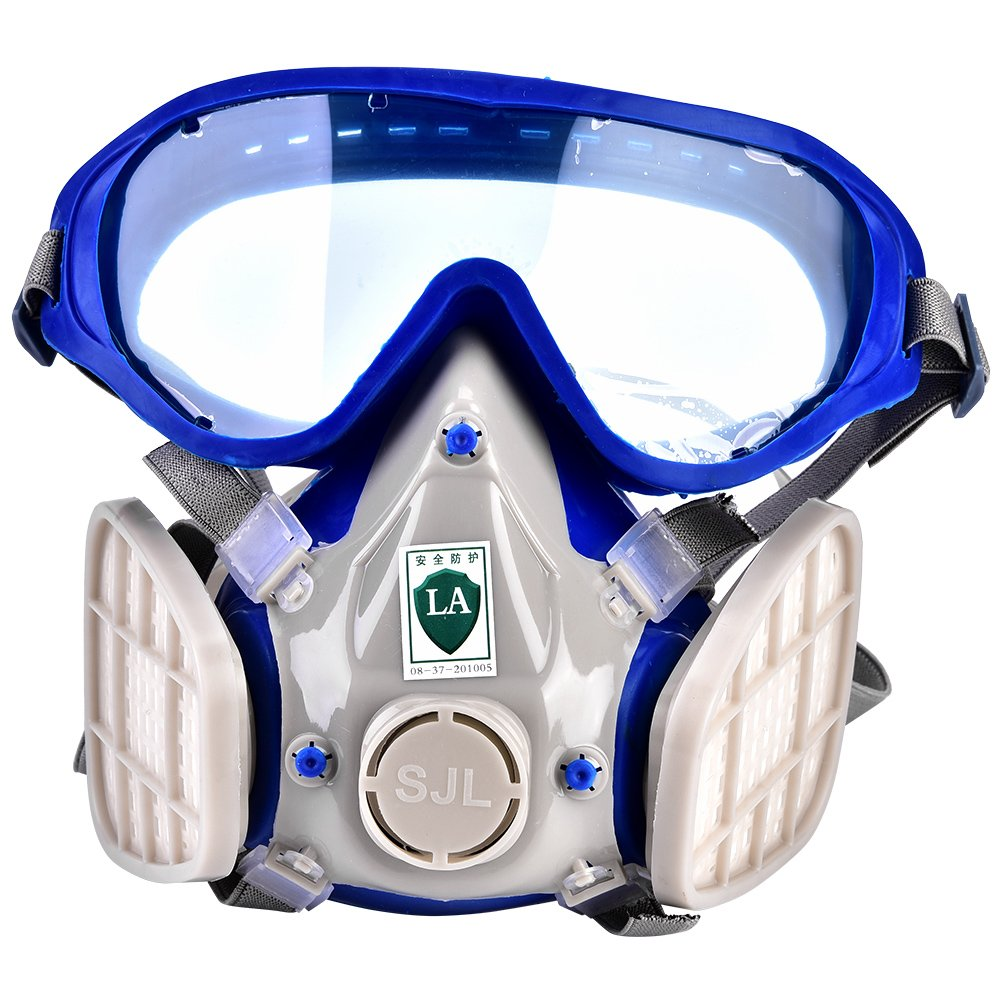 Silicone Full Face Respirator Paint Spray Chemical Gas Mask Breathing Protection Against Dust Pollen with Safety Goggles Wal front