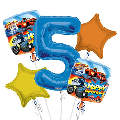 Blaze and The Monster Machines Balloon Bouquet 5th Birthday 5 pcs - Party Supplies: Health & Personal Care