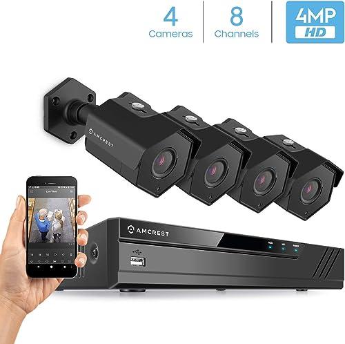 Amcrest 4MP Security Camera System, w 4K 8CH PoE NVR, 4 x 4-Megapixel 3.6mm Wide Angle Lens Weatherproof Metal Bullet POE IP Cameras, NV4108E-HS-IP4M-1026EB4 Black