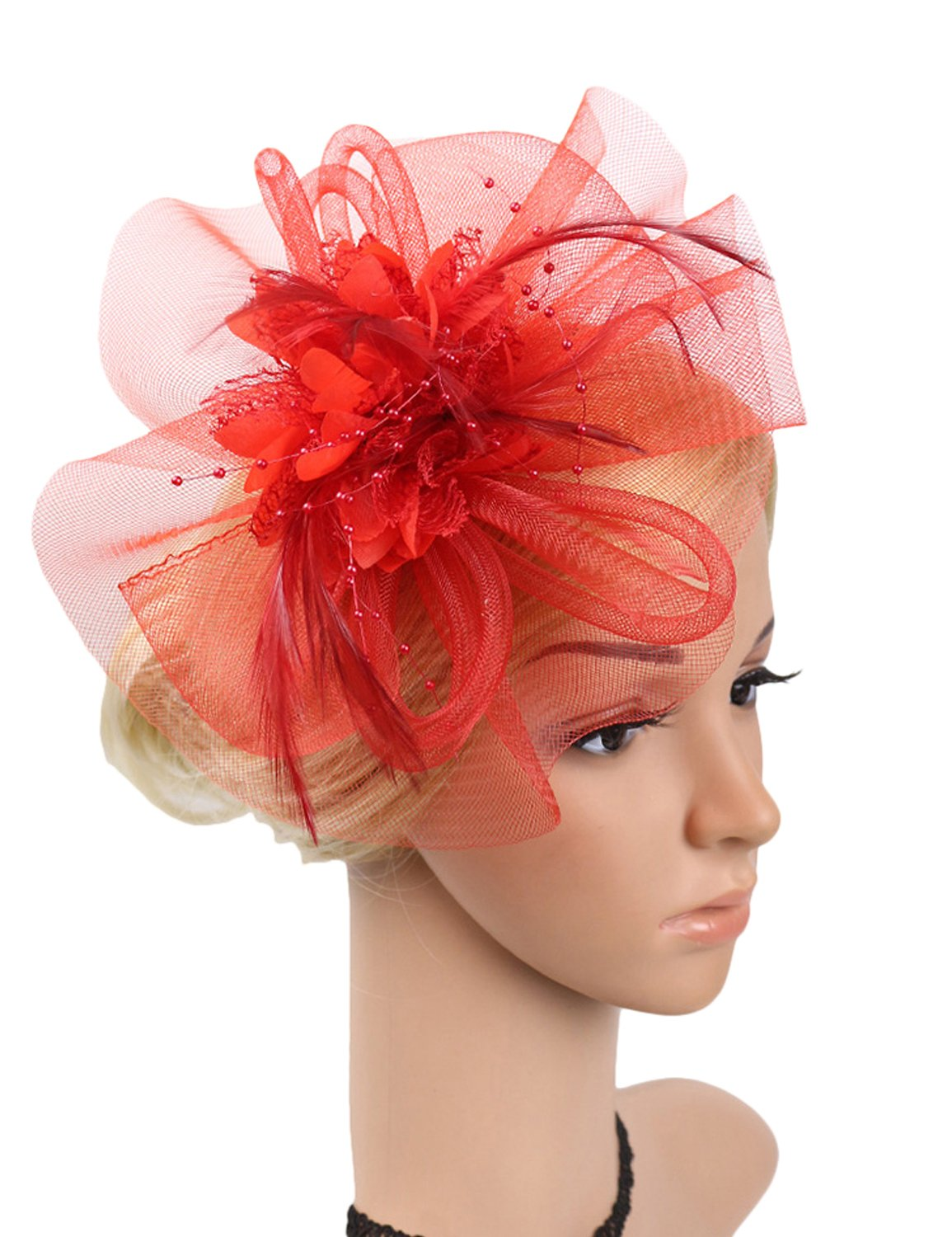 Womens Cocktail Party Feather Fascinator Beaded Red Veil Hat Headband E