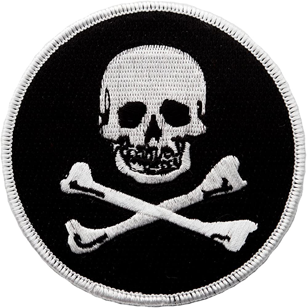 Embroidered Iron On Pirate Ship Patch Sew On Badge Jolly Roger Skull Crossbones
