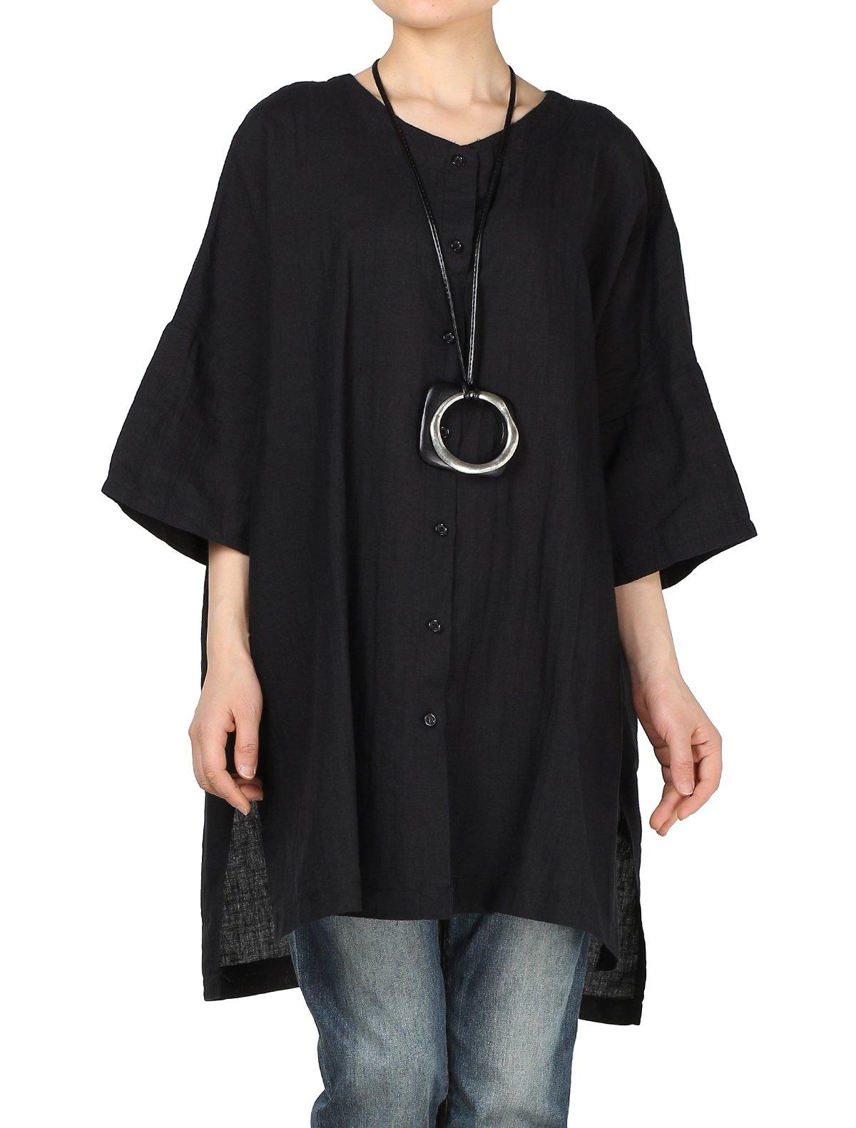 Mordenmiss Women's Summer Plus Size Round Neck Side Slit Blouse Shirt XL Black