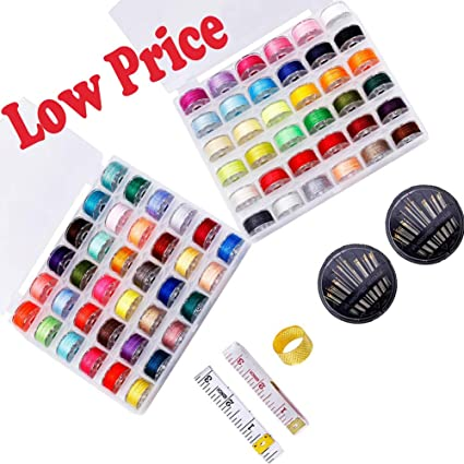 Class A Bobbin for Sewing Machine,BUTUZE 50 Pcs White Bobbins with Bobbin Storage Case,2 Sets of Needles,2 Pcs Soft Rulers,1 Thimble Ring for Brother,Babylock,Janome,Elna,Singer Sewing Machine