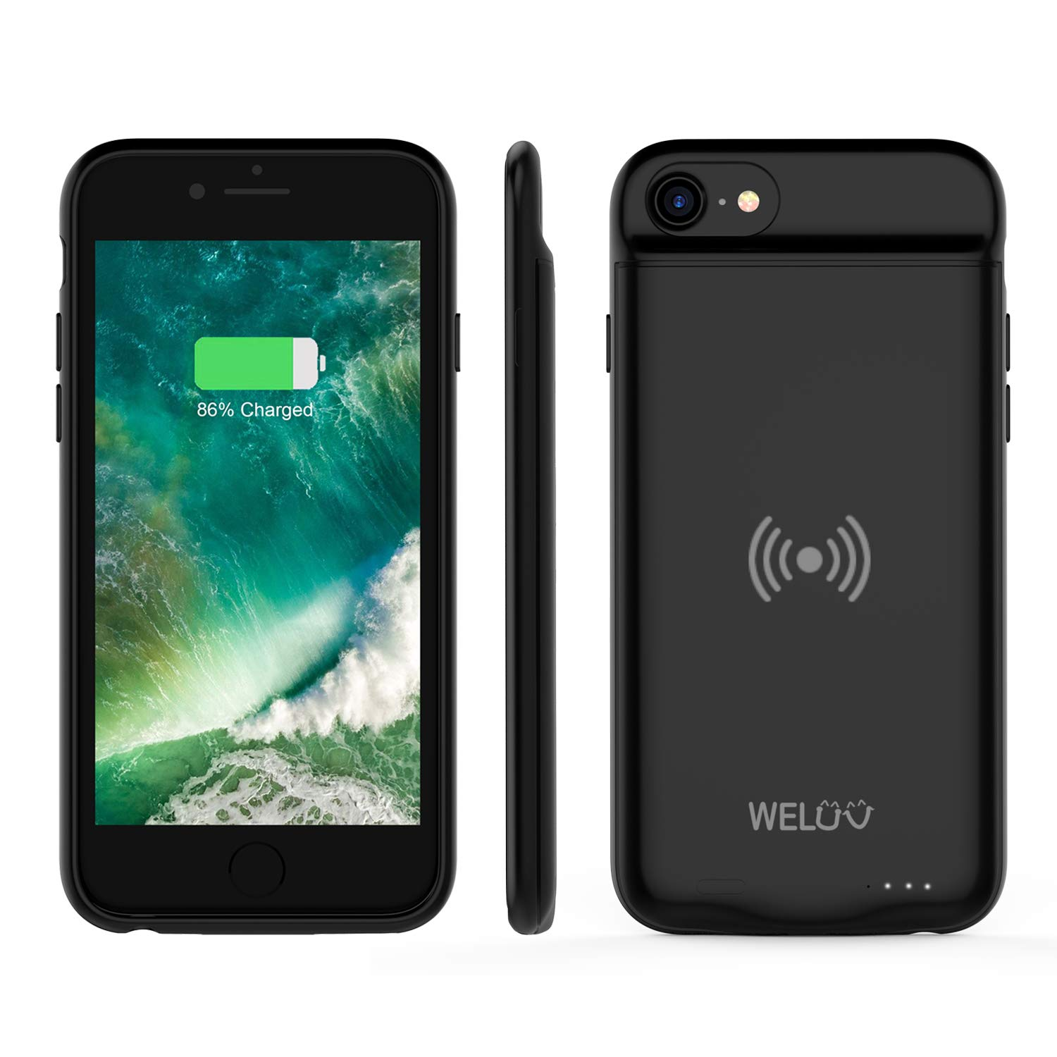WELUV Wireless Battery Case for iPhone 8 Plus 7 Plus 6s Plus 6 Plus Portable 4000mAh Rechargeable Protective Qi Charging Case Extended Battery Pack Charger Case Black by WELUV